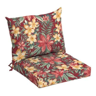 21 in. x 17 in. 2-Piece Deep Seating Outdoor Lounge Chair Cushion in Ruby Clarissa Tropical