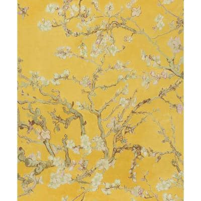 Fabric Patchwork Wallpaper Yellow Paper Strippable Roll (Covers 57 sq. ft.)