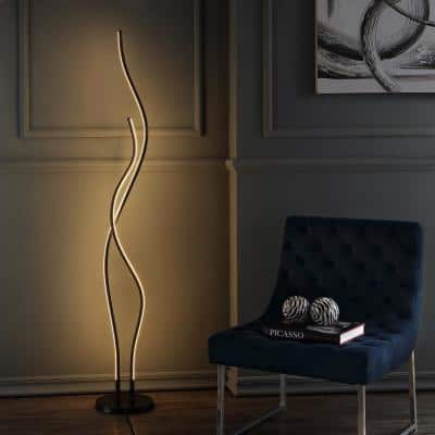 Cairo 63.75 in. Black LED Integrated Floor Lamp