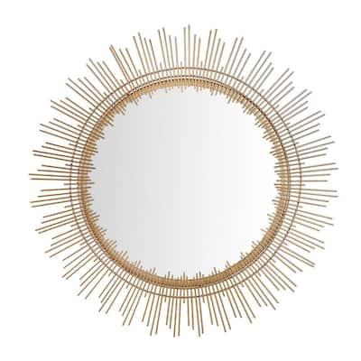 Medium Sunburst Gold Modern Accent Mirror (31 in. Diameter)