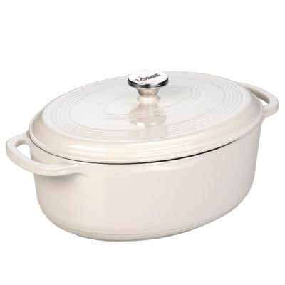 Enamelware 7 qt. Oval Cast Iron Dutch Oven in Oyster White with Lid