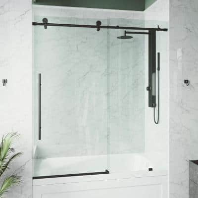 Elan E-Class 56 to 60 in. W x 66 in. H Sliding Frameless Tub Door in Matte Black with Clear Glass