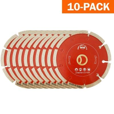 4 in. Professional Segmented Cut Diamond Blade for Cutting Granite, Marble, Concrete, Stone, Brick and Masonry (10-Pack)