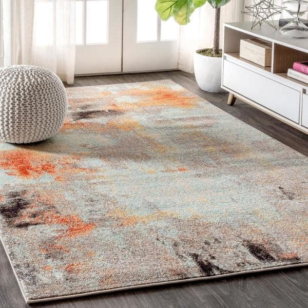 Jonathan Y Contemporary Pop Modern Abstract Vintage Cream Orange 8 Ft X 10 Ft Area Rug Ctp104b 8 The Home Depot