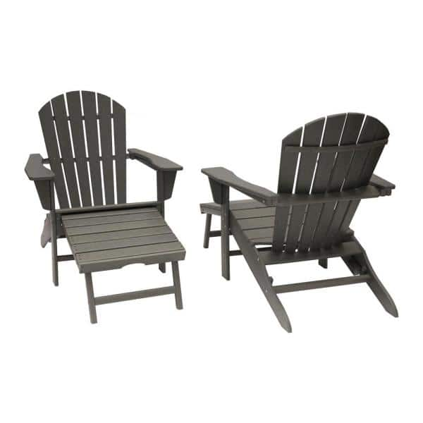 Luxeo Hampton Gray Plastic Outdoor Patio Adirondack Chair With Hideaway Ottoman 2 Pack Lux 1518 Gry Fr2 The Home Depot