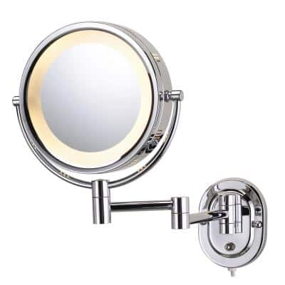 8 in. x 8 in. Round Lighted Wall Mounted Direct Wired 5X Magnification Makeup Mirror in Chrome