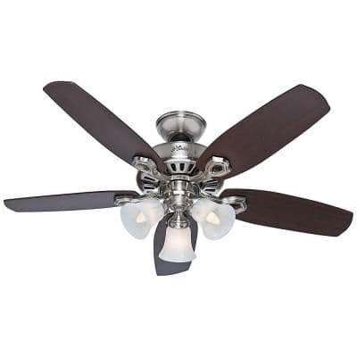 42 in. Indoor Brushed Nickel Builder Small Room Ceiling Fan with Light Kit