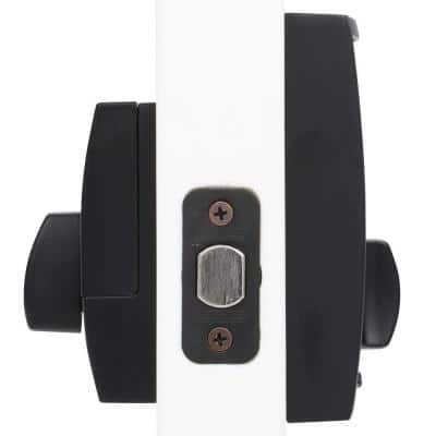 Century Touch Electronic Door Lock Deadbolt and Latitude Lever in Matte Black