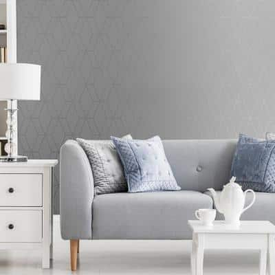 Diamond Geo Grey and Silver Unpasted Removable Peelable Paper Wallpaper