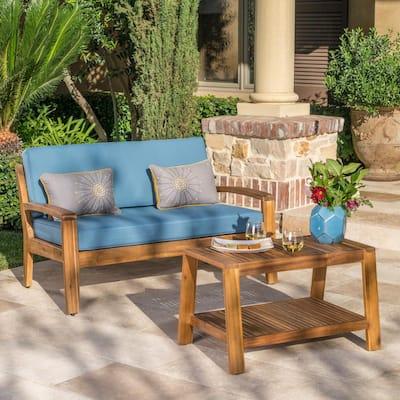 Grenada Teak Brown 2-Piece Wood Patio Conversation Set with Blue Cushions