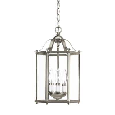 Bretton 3-Light Brushed Nickel Semi-Flush Mount Convertible Pendant with Dimmable Candelabra LED Bulbs