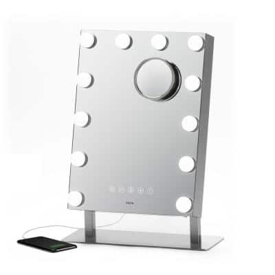 Hollywood Pro Portable Lighted 12 in. x 16 in. Vanity Bluetooth Speakerphone USB Charging Removable 10X Detail Mirror