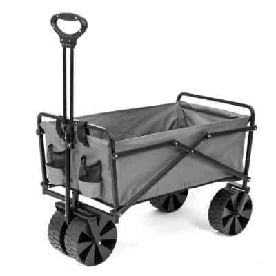 150 lbs. Capacity Manual Folding Utility Beach Wagon Outdoor Cart in Gray