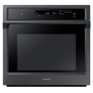 30 in. Single Electric Wall Oven with Steam Cook and Dual Convection in Fingerprint Resistant Black Stainless