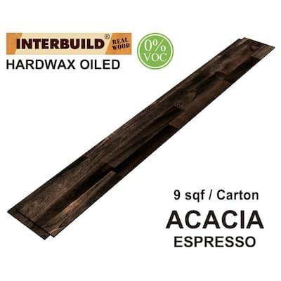 5.25 in. x 48 in. x 0.375 in. Acacia Shiplap Wall Boards, 5-Pack, Espresso