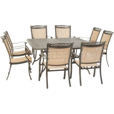 Fontana 9-Piece Aluminum Outdoor Dining Set with 8 Sling Chairs and a 60 in. Square Cast-Top Table