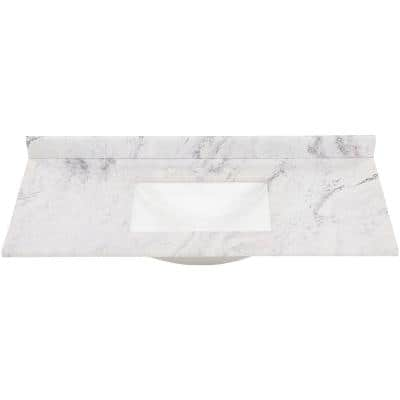 49 in. W x 22 in. D Stone Effect Vanity Top in Lunar with White Sink