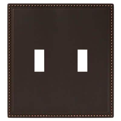 Perlina 2 Gang Toggle Metal Wall Plate - Aged Bronze