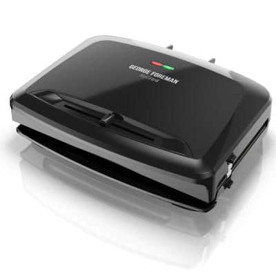 Rapid Grill 80 sq. in. Black Removable Plate Electric Indoor Grill and Panini Press