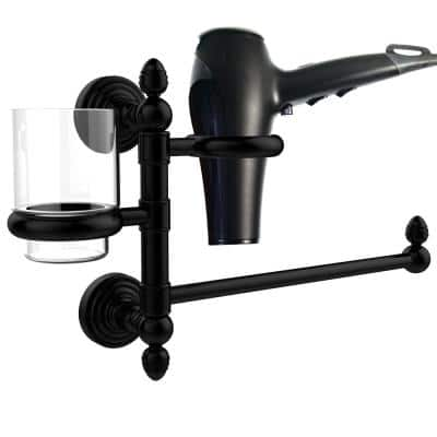 Waverly Place Collection Hair Dryer Holder and Organizer in Matte Black