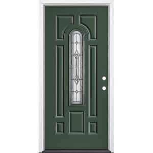 36 in. x 80 in. Providence Center Arch Conifer Left Hand In swing Painted Steel Prehung Front Door with Brickmold