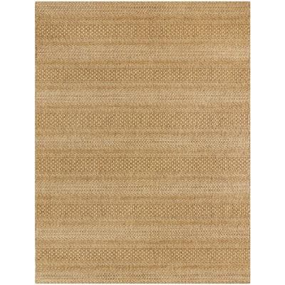 Natural Tan 5 ft. x 7 ft. Striped Indoor/Outdoor Area Rug