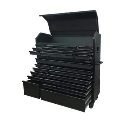 Heavy-Duty 56 in. W 23-Drawer, Deep Combination Tool Chest and Rolling Cabinet Set in Matte Black