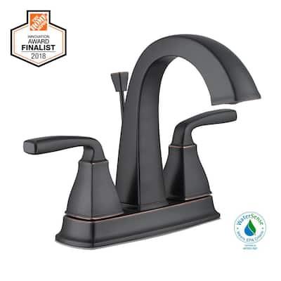 Mason 4 in. Centerset 2-Handle High-Arc Bathroom Faucet in Bronze