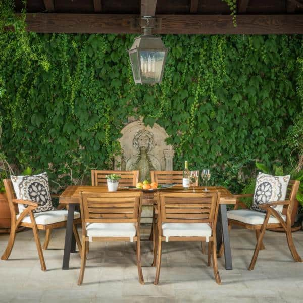 Noble House Scarlet 7-Piece Acacia Wood Rectangular Outdoor Dining Set with Cream Cushions