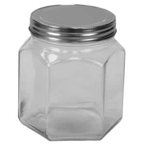 26 oz. Small Hexagon Glass Canister, Clear