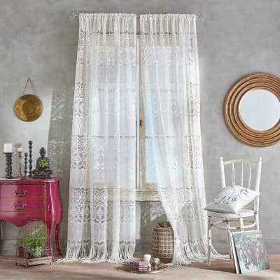 Ivory Lace Rod Pocket Room Darkening Curtain - 50 in. W x 108 in. L