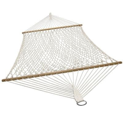 Double 12 ft. Free Standing 2-Person Cotton Rope Spreader Bar Hammock Bed