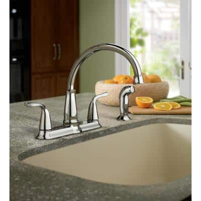 Brecklyn 2-Handle Standard Kitchen Faucet with Side Sprayer in Chrome