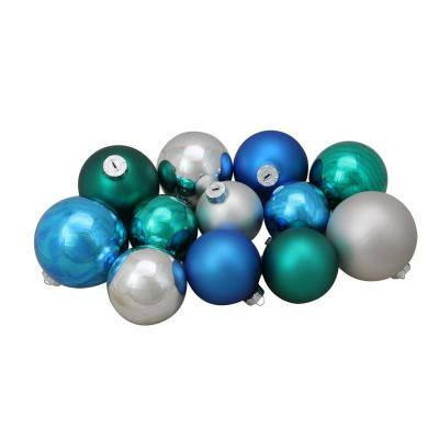 3.25 in. to 4 in. Turquoise Blue and Silver Shiny and Matte Glass Ball Christmas Ornaments (72-Count)