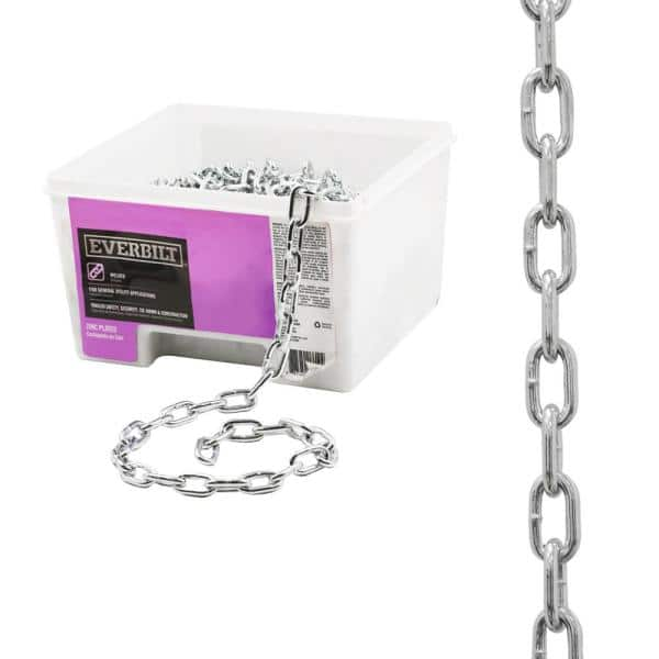 Everbilt 3 16 In X 100 Ft Grade 30 Galvanized Steel Proof Coil Chain 806650 The Home Depot