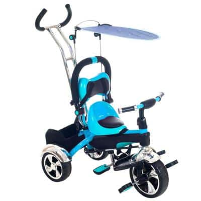 Blue Convertible Stroller Tricycle