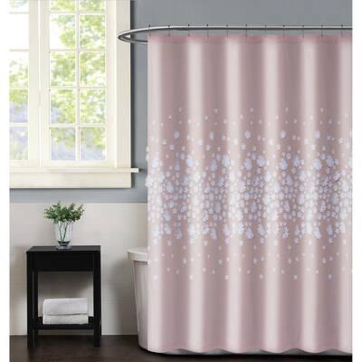 Confetti Flowers 72 in. x 72 in. Blush Shower Curtain