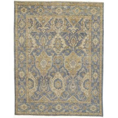 Irie Warm Blue/Gold 8 ft. x 10 ft. Floral Wool Area Rug