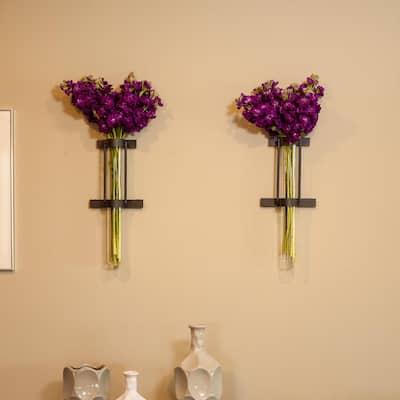 Urbanne Rustic Black Wall Mount Cylinder Glass Cylinder Decorative Vases (Set of 2)
