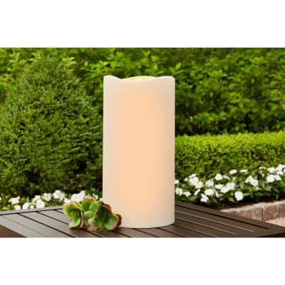 6 in. x 12 in. Battery Operated Outdoor Patio Resin LED Candle