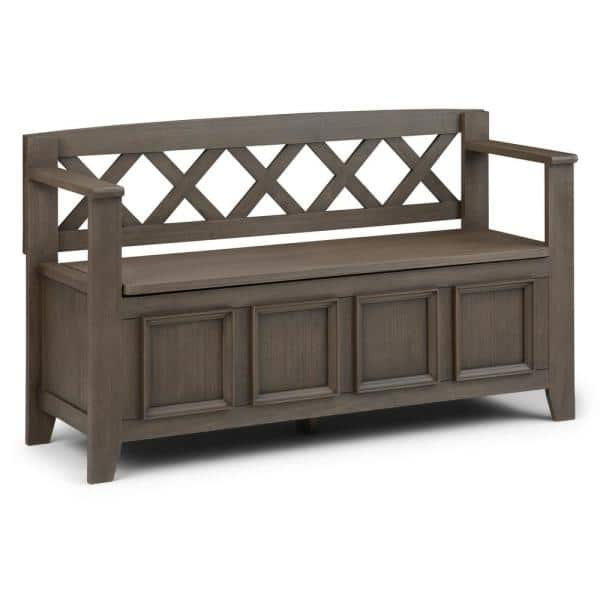 Simpli Home 48 In Amherst Farmhouse Grey Solid Wood Wide Entryway Storage Bench Axcab Bnch Fg The Home Depot
