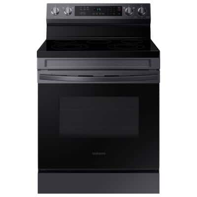 Smart 6.3 cu. ft. Freestanding Electric Range with Rapid Boil and Self Clean in Black Stainless Steel