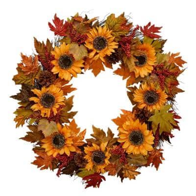 30 in. Unlit Artificial Sunflower and Burgundy Berries Fall Wreath