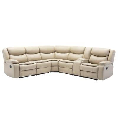 Boyel Living Mannual Motion Sofa 7 Piece Grey Faux Leather Symmetrical Sectionals With Reclining Rys 070gy The Home Depot