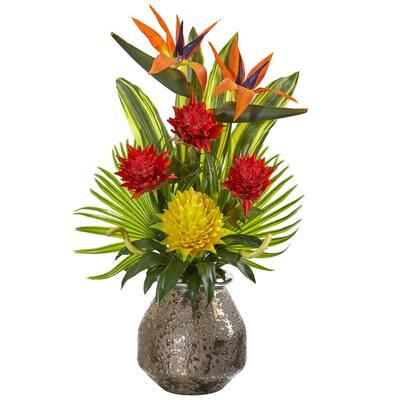 Tropical Inspired Artificial Arrangement in Designer Vase