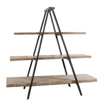 Urban Industrial Style 73 in. Brown Solid Wood 3-Shelf Ladder Bookcase with Open Back