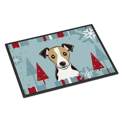 24 in. x 36 in. Indoor/Outdoor Winter Holiday Jack Russell Terrier Door Mat