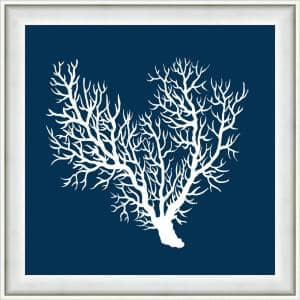 18 in. x 18 in. ''Navy Coral III'' Framed Giclee print Wall Art