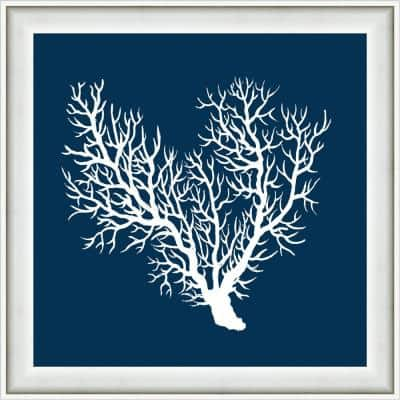 """18 in. x 18 in. """"Navy Coral III"""" Framed Giclee print Wall Art"""
