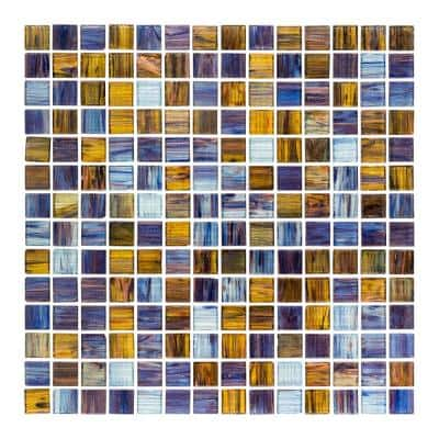 Vineyard Blue 11.875 in. x 11.875 in. Glossy Glass Mosaic Tile (0.979 sq. ft./Each)